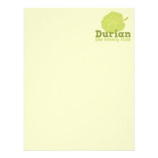 Durian la fruta hedionda (de Asia sudoriental) Membrete