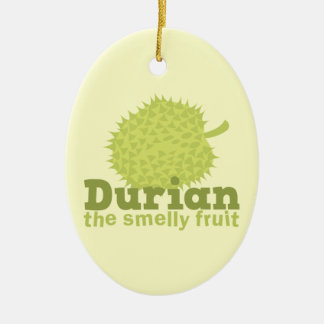 Durian the Smelly Fruit (from South east Asia) Double-Sided Oval Ceramic Christmas Ornament