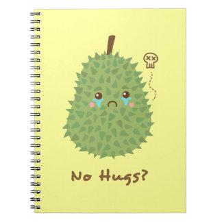 Durian triste que no consigue ningún abrazo libro de apuntes con espiral