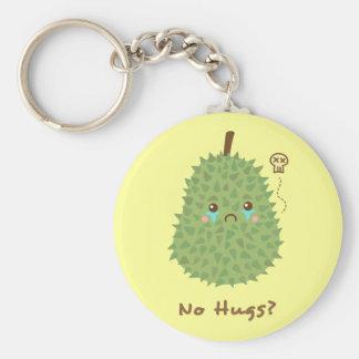 Durian triste que no consigue ningún abrazo llavero redondo tipo pin