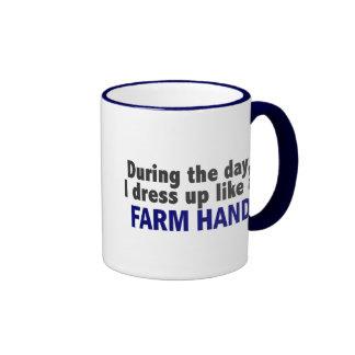 During The Day I Dress Up Like A Farm Hand Ringer Coffee Mug
