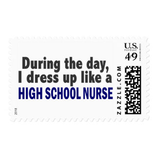 During The Day I Dress Up Like A High School Nurse Postage Stamp