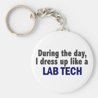 During The Day I Dress Up Like A Lab Tech Keychain