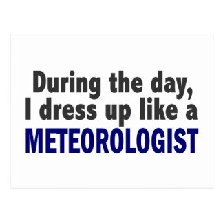 During The Day I Dress Up Like A Meteorologist Postcard