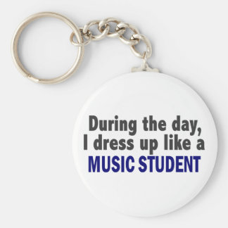 During The Day I Dress Up Like A Music Student Keychains