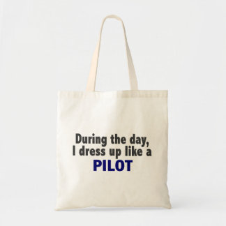 During The Day I Dress Up Like A Pilot Canvas Bags