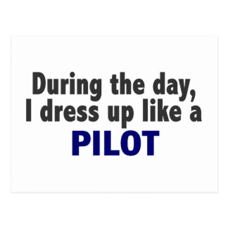 During The Day I Dress Up Like A Pilot Postcard
