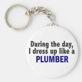 During The Day I Dress Up Like A Plumber Basic Round Button Keychain