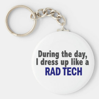 During The Day I Dress Up Like A Rad Tech Basic Round Button Keychain