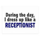 During The Day I Dress Up Like A Receptionist Postcard