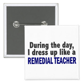 During The Day I Dress Up Like A Remedial Teacher Pinback Buttons