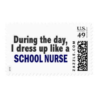During The Day I Dress Up Like A School Nurse Postage Stamp