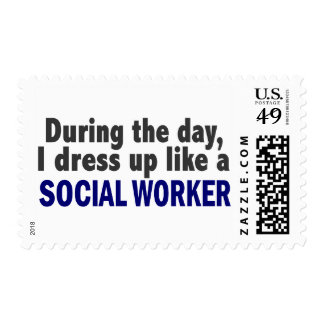 During The Day I Dress Up Like A Social Worker Postage