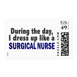 During The Day I Dress Up Like A Surgical Nurse Postage Stamp