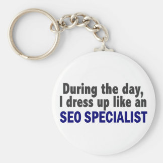 During The Day I Dress Up Like An SEO Specialist Basic Round Button Keychain