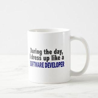 During The Day I Dress Up Like Software Developer Mug
