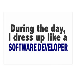 During The Day I Dress Up Like Software Developer Post Card