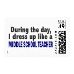 During The Day I Dress Up Middle School Teacher Stamp