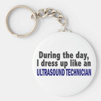 During The Day I Dress Up Ultrasound Technician Basic Round Button Keychain