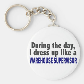 During The Day I Dress Up Warehouse Supervisor Basic Round Button Keychain