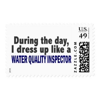 During The Day I Dress Up Water Quality Inspector Postage Stamp