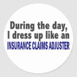 During The Day Insurance Claims Adjuster Round Stickers
