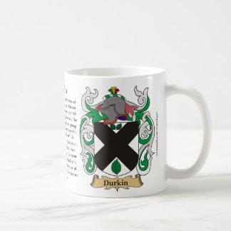 Durkin, el origen, el significado y el escudo taza de café