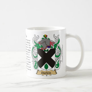 Durkin, the Origin, the Meaning and the Crest Coffee Mug