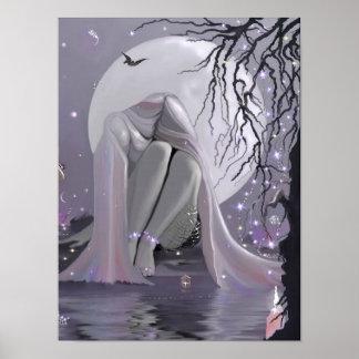 Durmiente del claro de luna en lona póster