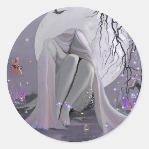 Durmiente del claro de luna, pegatinas pegatina redonda
