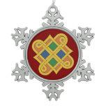 Durrow Knotwork 2016 Snowflake Pewter Christmas Ornament
