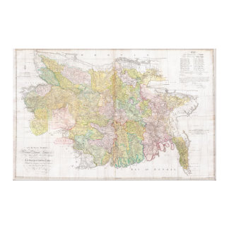 Dury Wall Map of Bihar and Bengal, India Canvas Print
