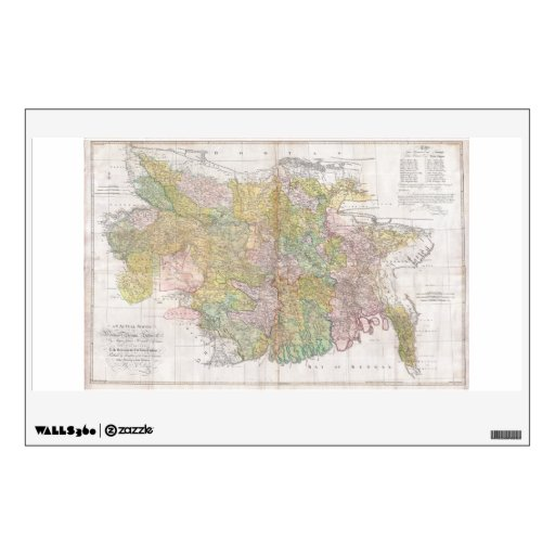 Dury Wall Map of Bihar and Bengal, India Wall Sticker