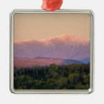 Dusk and Mount Washington in new Hampshire's Square Metal Christmas Ornament