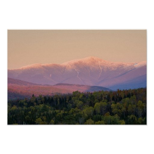 Dusk and Mount Washington in new Hampshire's Poster