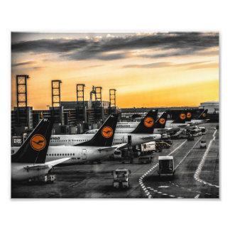 Dusk at Frankfurt airport Photo Print