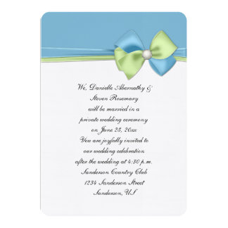 Dusk Blue and Green Ribbons and Bow Reception Only Card