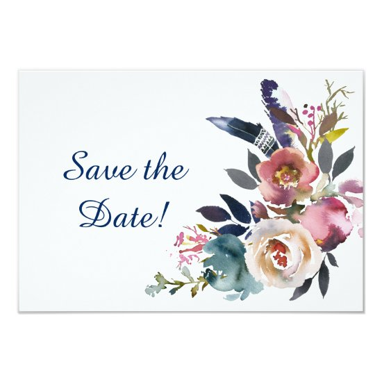 Dusk Blue and Pink Floral Bouquet Save The Date Invitation