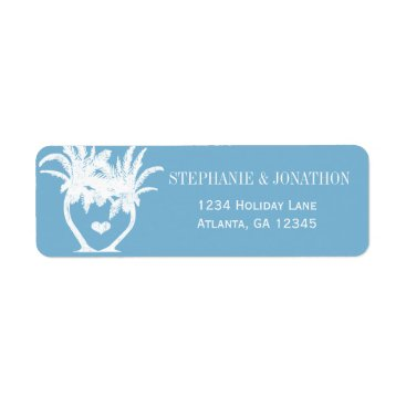 Beach Themed Dusk Blue Beach Palm Tree Destination Chalkboard Label