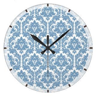 Dusk Blue Damask pattern Clocks