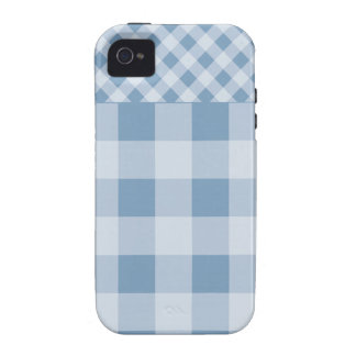 Dusk Blue Gingham pattern Case-Mate iPhone 4 Cover