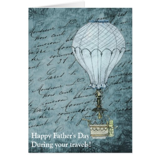 Dusk Blue Hot Air Balloon Steampunk Father's Day Card
