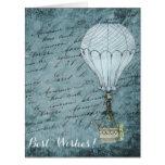 Dusk Blue Hot Air Balloon Steampunk Handwriting Card