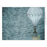 Dusk Blue Hot Air Balloon Steampunk Handwriting Card