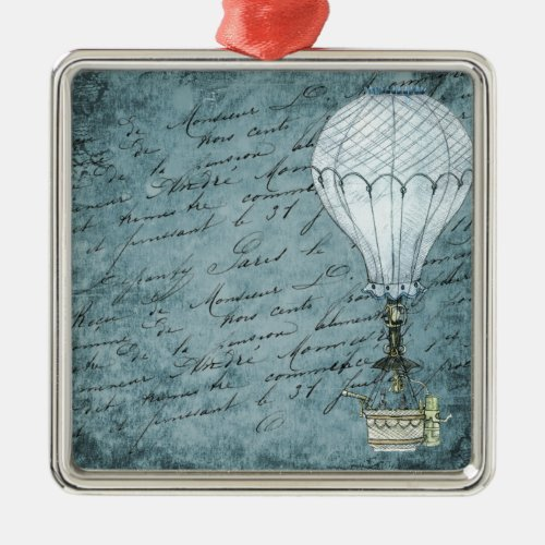 Dusk Blue Hot Air Balloon Steampunk Handwriting Metal Ornament