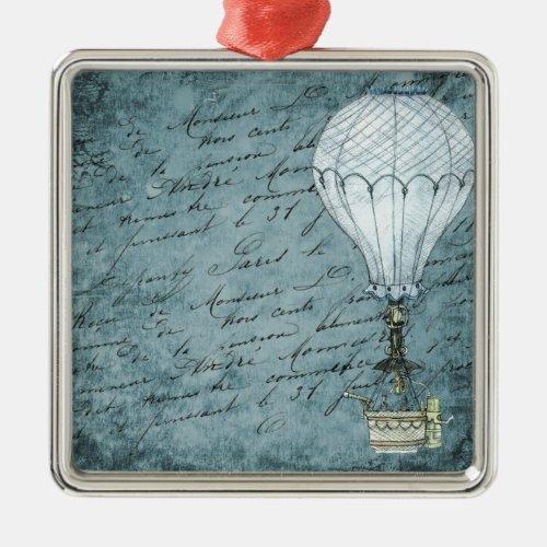 Dusk Blue Hot Air Balloon Steampunk Handwriting Metal Ornament