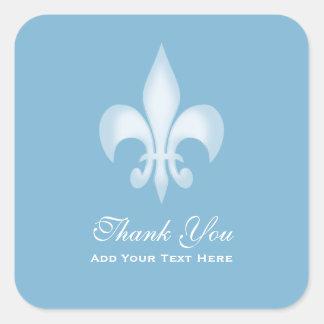 Dusk Blue Transparent Fleur de Lis Thank You Sticker