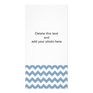 Dusk Blue White Chevron Pattern Card