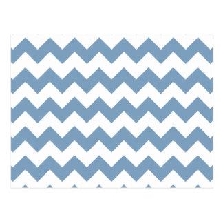Dusk Blue White Chevron Pattern Postcard