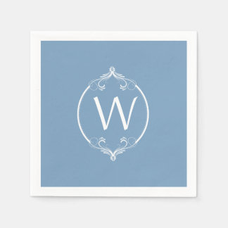 Dusk Blue White Frame Monogram Paper Napkins